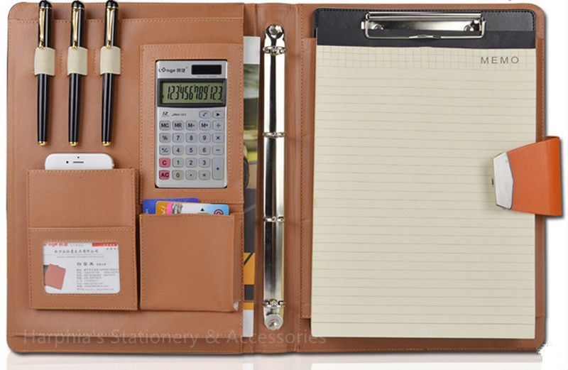 Code Lock A4 business leather portfilio manager document file folder holder brief case with solar calculater with code lock
