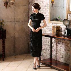 Chinese Traditional Cheongsam Women Silk Satin Plum Blossom Long Dress  Size: S to 6XL