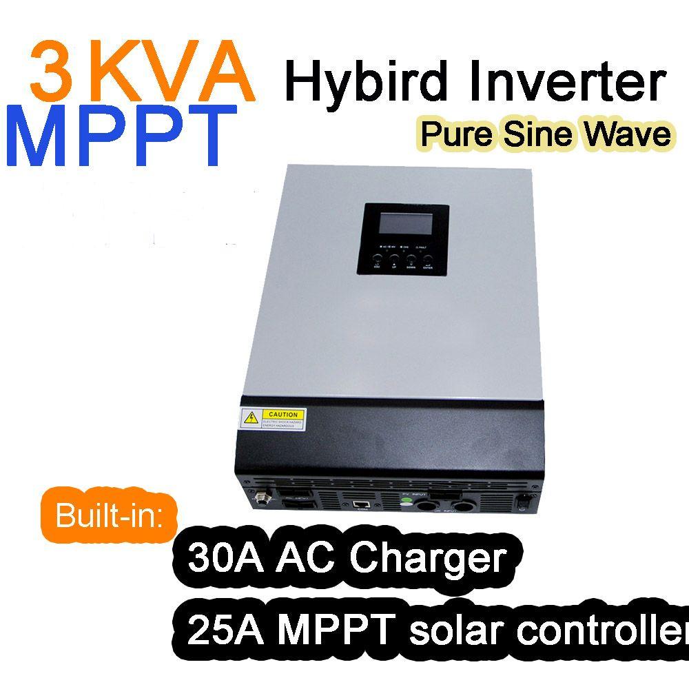 Solar-wechselrichter 3KVA 3000VA 2400 Watt 24 V 220 V 25A Hybrid MPPT Wechselrichter Reine Sinus-wechselrichter 30A Ladegerät