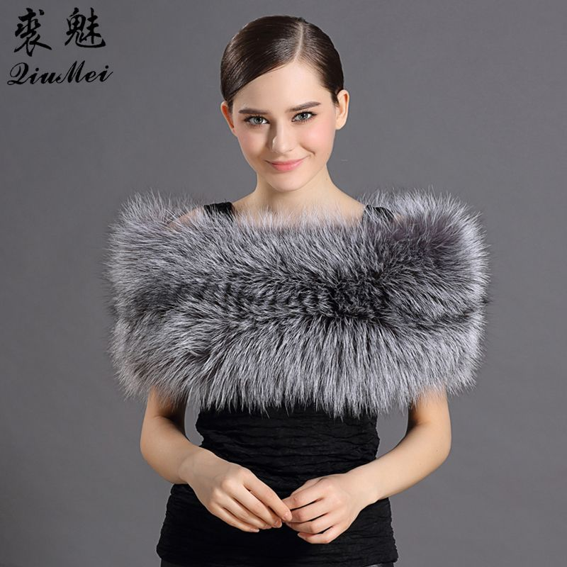 Women Fox Fur Shawl Solid Winter Protected Warming Scarves Natural Fur Stoles Elegant Female Fur Shawls For Wedding Party Daily