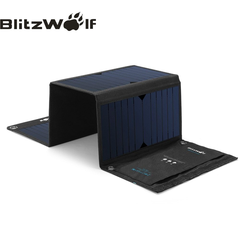 BlitzWolf 28W Solar Power Bank Solar Panel Portable <font><b>Charger</b></font> External Battery Universal Powerbank For iPhone For Xiaomi Phones