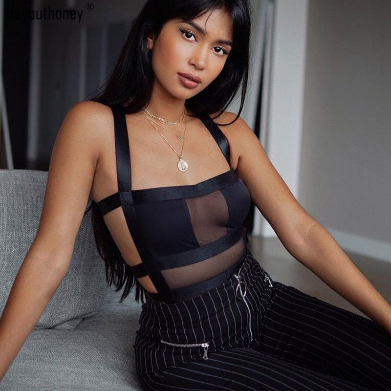 Heyouthoney new sexy summer black women off shoulder mesh see through perspective one piece skinny swimwear swimsuit bodysuits