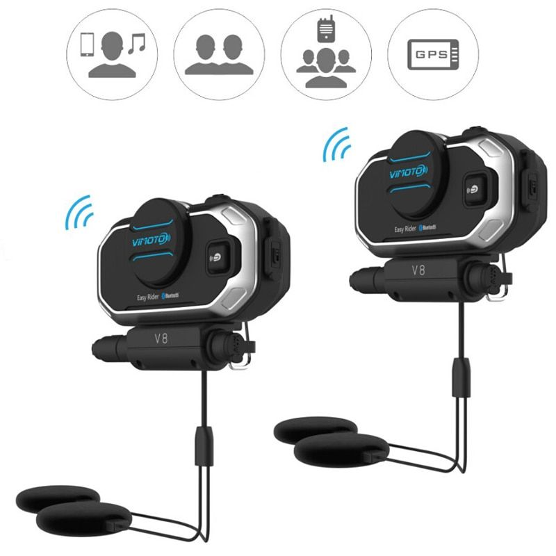 English Version Easy Rider 2Sets Vimoto V8 Helmet Bluetooth Headset Motorcycle Stereo Headphones For Mobile Phone and GPS Radio