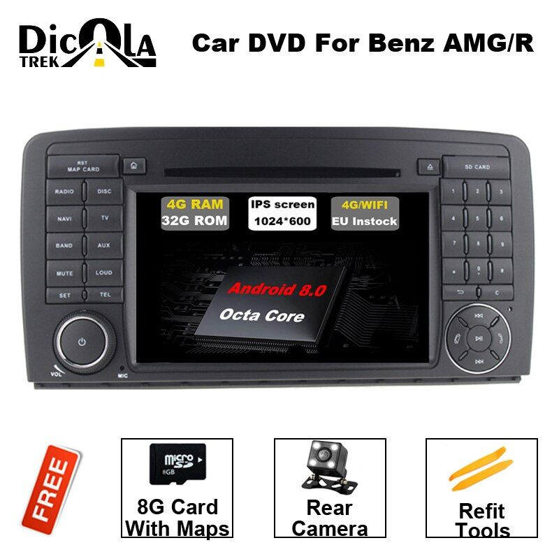 7 inch 2 DIN Car DVD GPS Android 8.0 Fit Mercedes Benz R CLASS W251 R280 R300 R320 R350 R500 R63 AMG 4G RAM BT DAB Radio DVD GPS