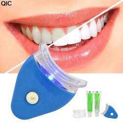 QIC eléctrica dientes dentales merlán Kit incluyendo la batería origen luz LED blanco blanquear pasta de dientes Gel blanqueador Cuidado Oral