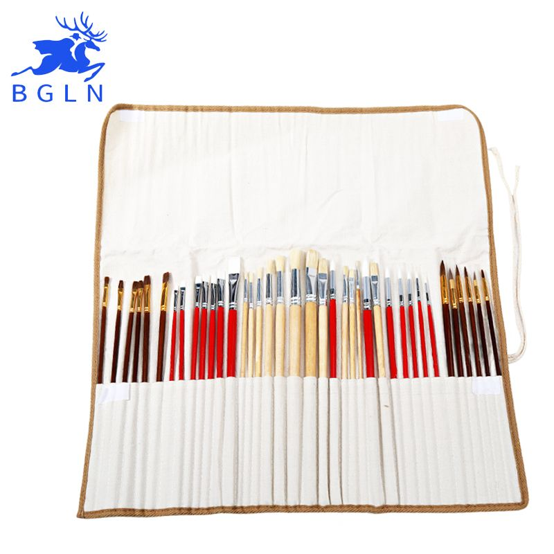 38Pcs Paint Brushes Set With Canvas Bag For Oil Acrylic Watercolor Painting Long Wooden Handle Multifunction Brush Art Supplies