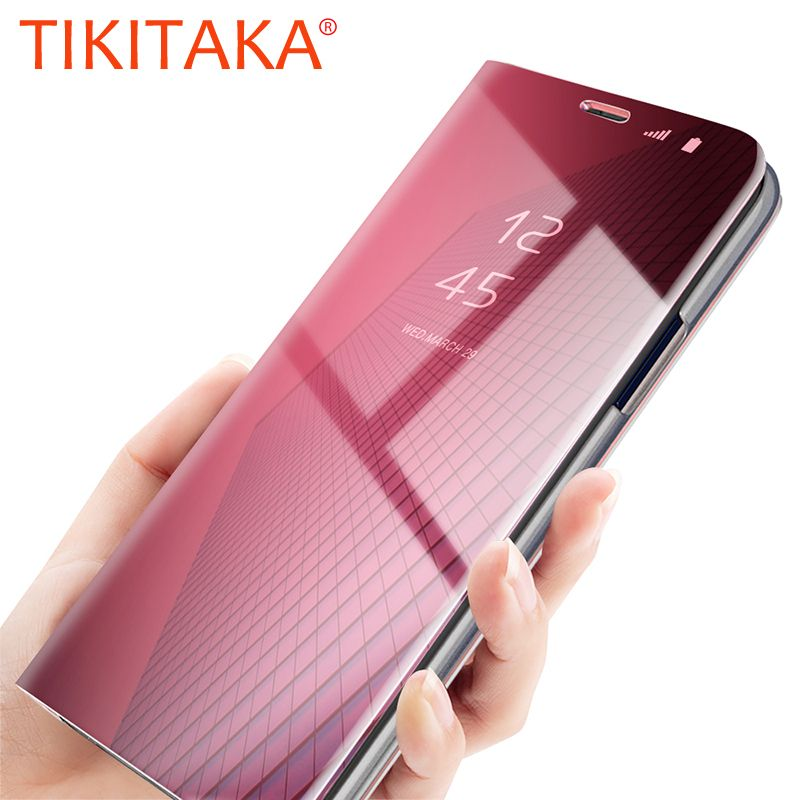 Mirror Flip Case For Samsung Galaxy Note 8 S6 S7 Edge S8 S9 Plus J3 J5 J7 Cases Smart Cover For iPhone 6 6s 7 8 Plus X Housing