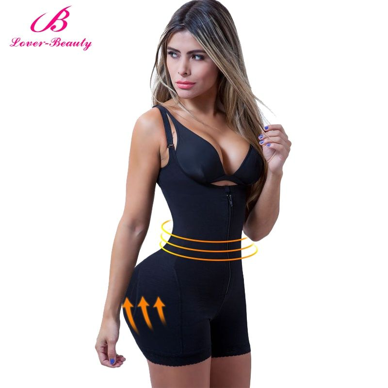 Lover Beauty Fajas Reductora Zipper and Clip Latex Waist Trainer Firm Control Body Shapewear Bodysuit Butt Lifter Shapers