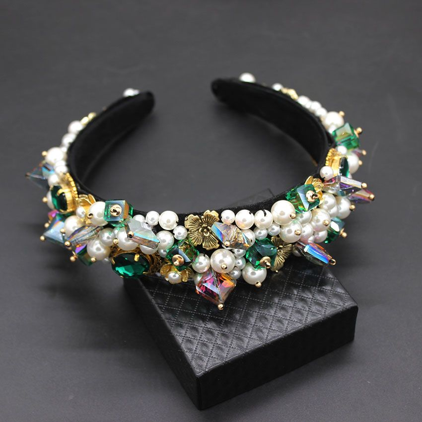 Personality street style headband Baroque exaggerated crystal pearls with headband catwalk dance multicolor headband 903