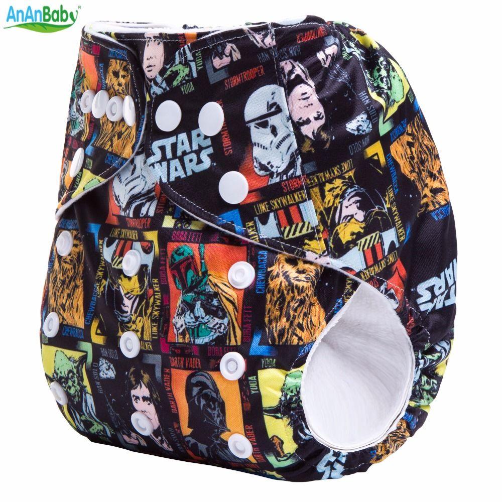 Ananbaby Réutilisable Cloth Nappy Star Wars Avec Daim Intérieure Bébé Couches Imperméable Pul Couverture Avec Microfibre Insérer Costume 3-15 kg