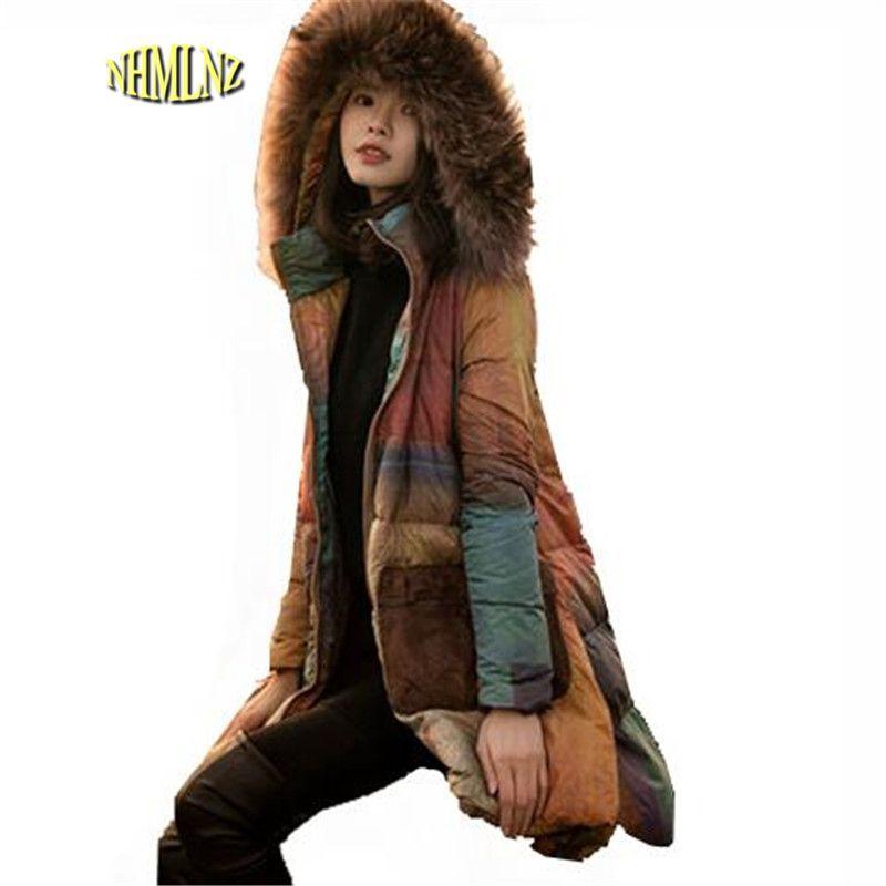 Gran tamaño suelta invierno mujeres abrigo 2017 nueva casual de manga larga con capucha de la chaqueta de las mujeres han edición OK187
