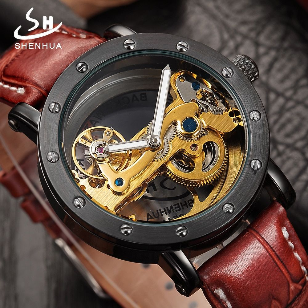 Fashion Transparent Hollow Automatic Mechanical Watches Top Brand Luxury Watch Men Skeleton Self Wind Leather Men's WristWatches