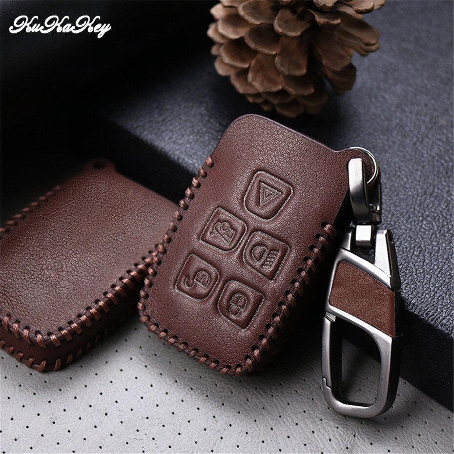 Leather Car Key Fob Case For Jaguar XE XF XJ F-TYPE C-X16 75 E-TYPE XK S-TYPE D-TYPE 5 Button Remote Key Chain Ring Car Styling