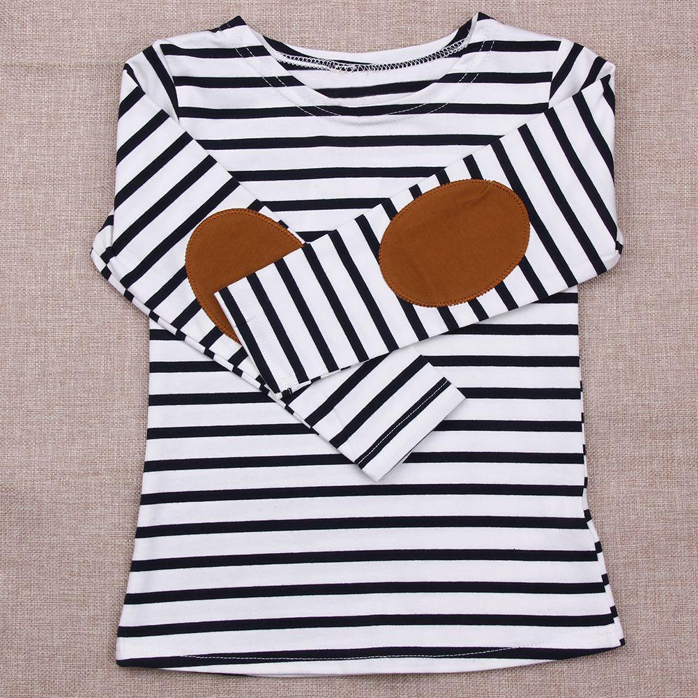Nouveau 2017 D'été Enfants Filles T-shirt À Manches Longues Rayé Coton T-shirt Fille Enfants Mode Tops Enfants Bébé Vêtements pour 2-7Y