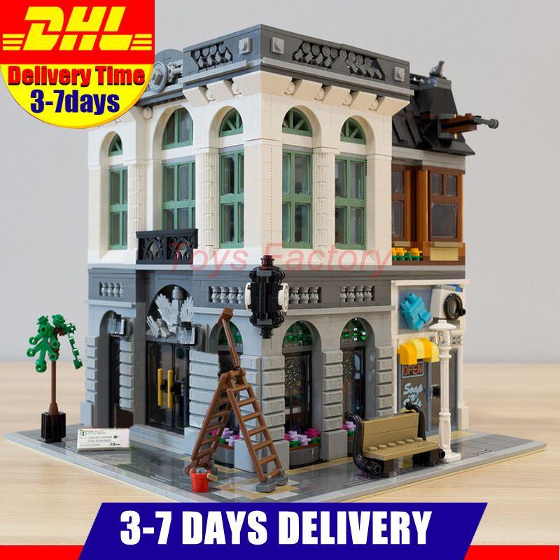 2018 DHL LEPIN 15001 Ville Rue Clone Banque De Briques Blocs De Construction Jouets Ville Modulable Série Modèle Enfants Cadeau Compatible 10251