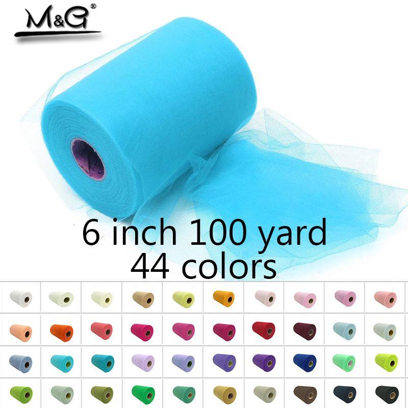 6 pouces 100 yard Tulle rouleaux Profeshion pour faire à la main tutu robe ou tulle table de mariage fête décoration qualité 44 couleurs