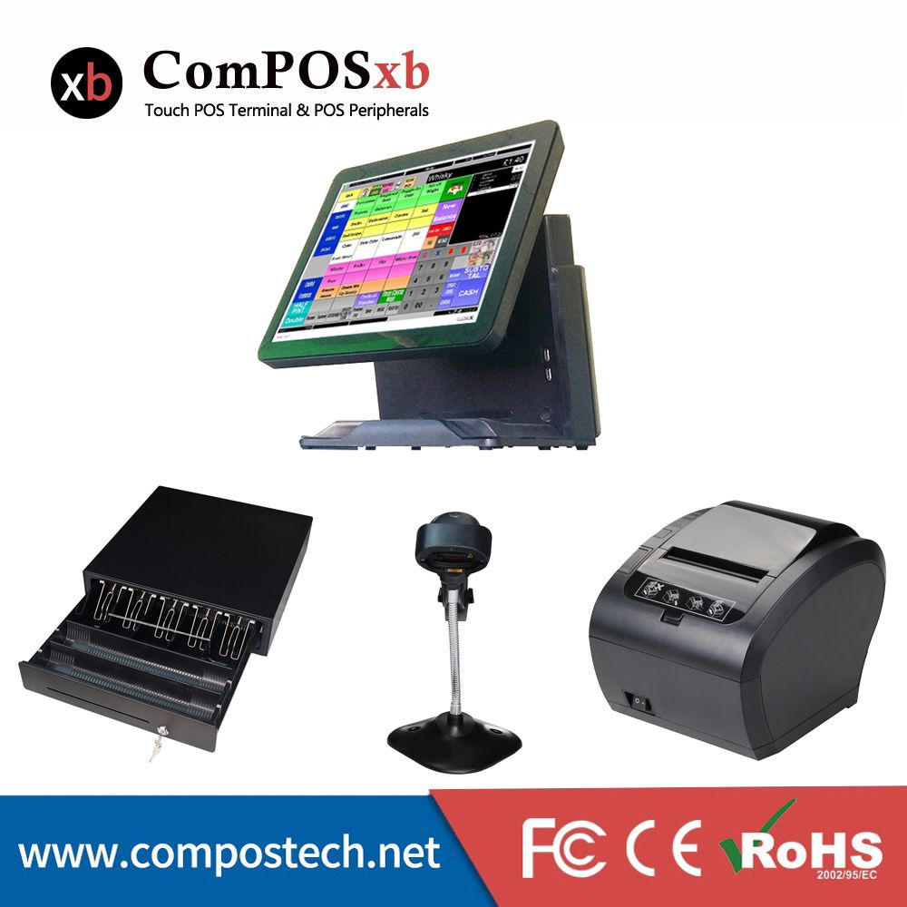 Whole Set Windows Pos Machine 15'' Touch Screen All In One POS System/Cash Register/Cashier POS