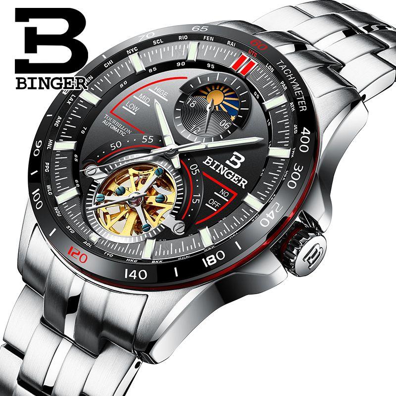 Switzerland BINGER Watch Men Luxury Brand Mens Watches Tourbillon Automatic Mechanica Wristwatch Sapphire reloj hombre B-MS10001