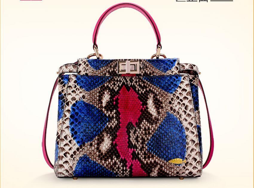 100% echte Python Schlangenhaut Tasche Dame frauen Designer-handtasche, bunte Schlange Leder Frauen Umhängetasche