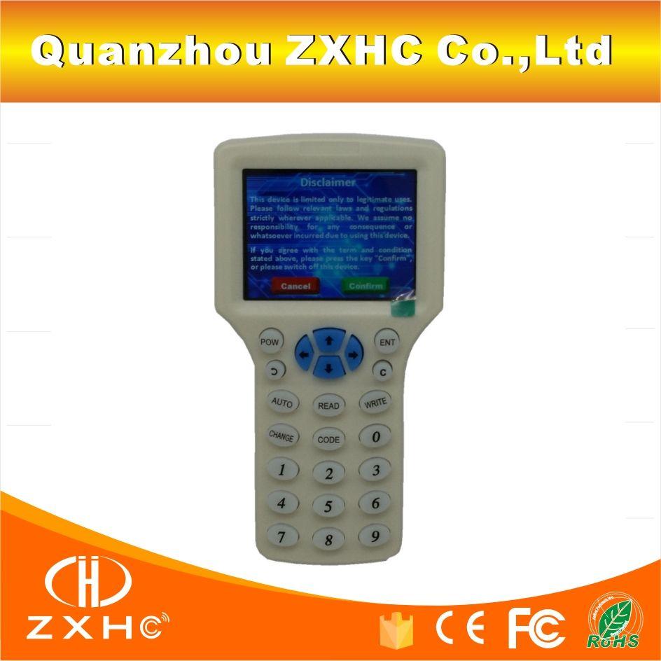 Langue anglaise RFID lecteur graveur copieur duplicateur IC/ID 10 fréquence avec câble USB pour 125 Khz 13.56 Mhz cartes écran LCD