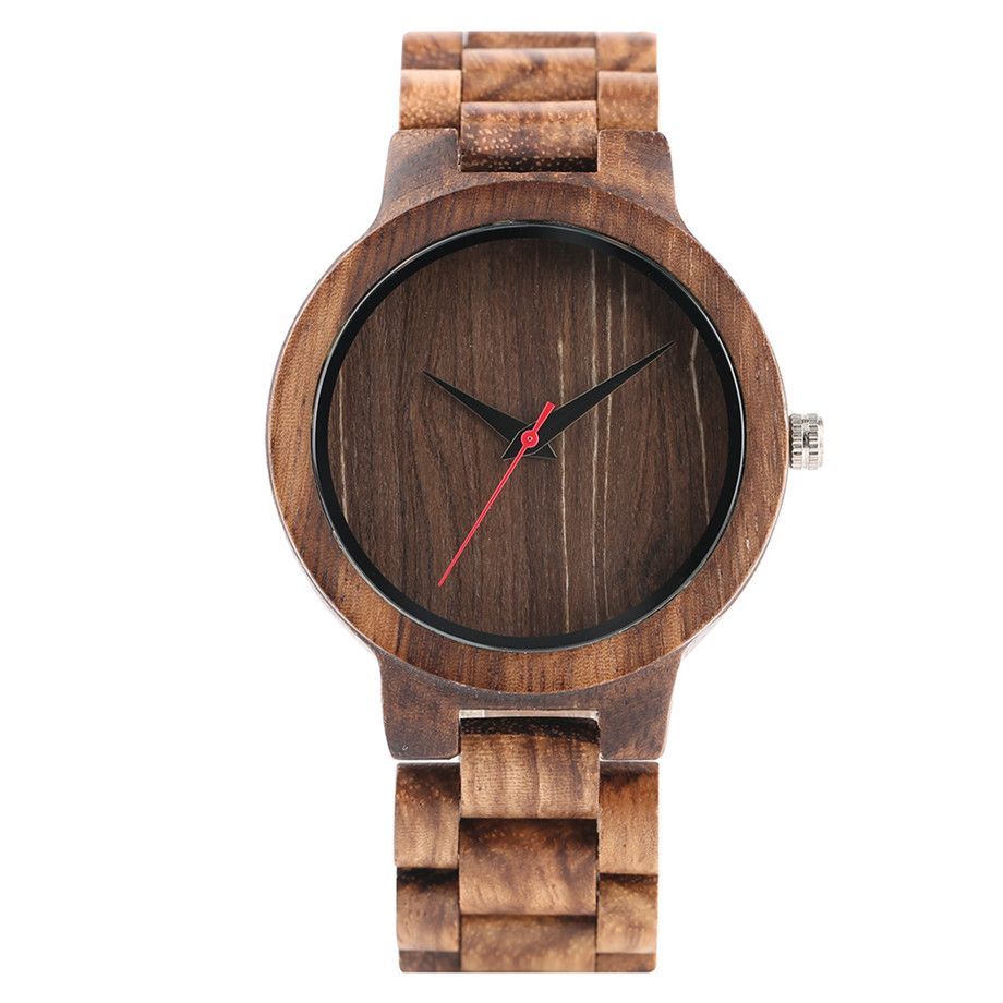 New Arrival Simple Hand-made Full Wooden Quartz Watches Mens Brown/Black Dial Bracelet Clasp Natural Minimalism Watch Gift Male