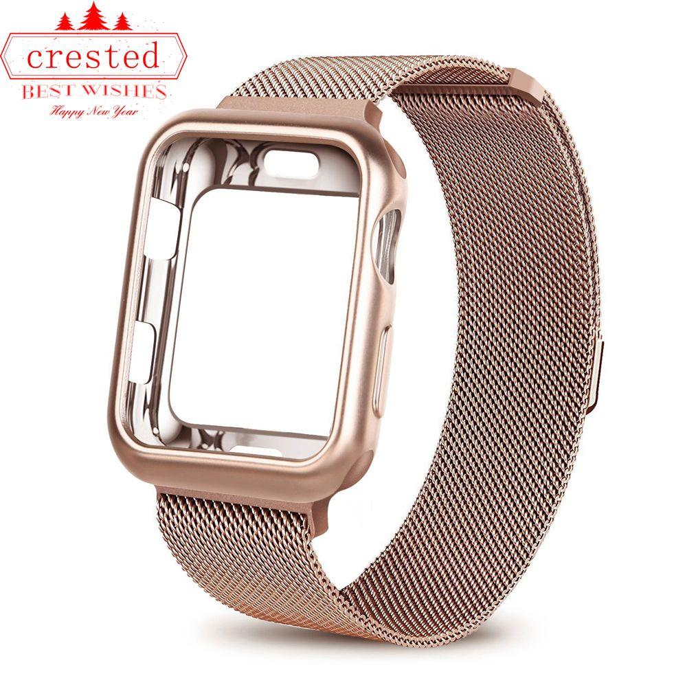 Boîtier + bracelet de montre pour montre Apple 3 iwatch band 42mm 38mm bracelet à boucle milanaise bracelet de montre en acier inoxydable pour montre Apple 4 3 21
