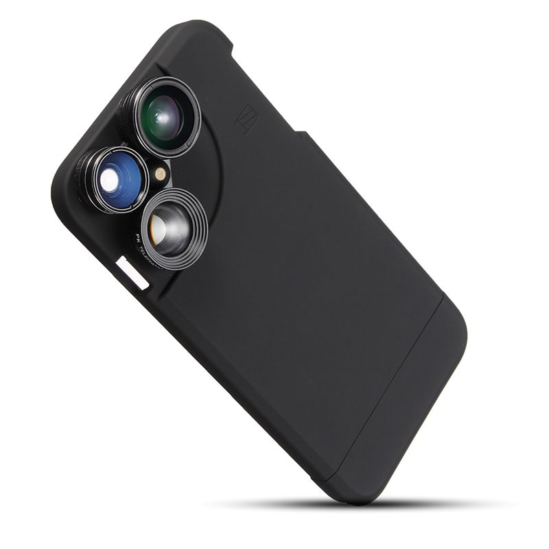 For iPhone 6 Plus 6s Plus 4 In 1 Wide Angle Fish Eye Macro Telephoto Camera Lens Kit Case Cover For Apple Phones Black White