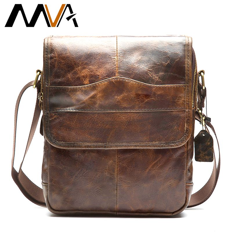 MVA Men's Bags Genuine Leather male Crossbody Bags strap Small Casual Flap Men Leather messenger bag men's shoulder bag 1121