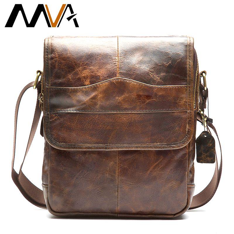 MVA <font><b>Messenger</b></font> bag men's shoulder bag Genuine Leather strap Small Casual Flap male man men's Crossbody Bags for Men Leather 1121
