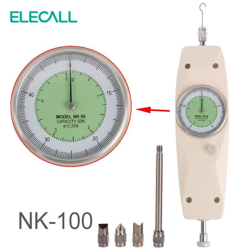 ELECALL NK-100 Analog Dynamometer Force Measuring Instruments Thrust Tester Analog Push Pull Force Gauge Tester Meter