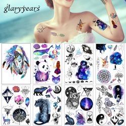 1 La belleza de la hoja etiqueta engomada del tatuaje impermeable lindo color caballo Animal patrón mujeres chica Body Art tatuaje temporal extraíble