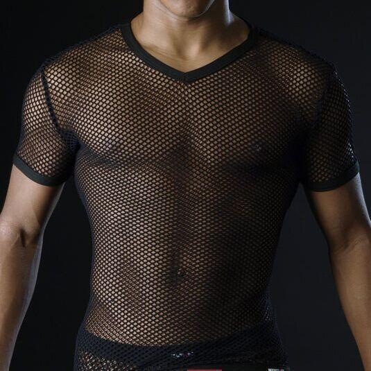 Chaude Hommes T Chemises Transparent Mesh Voir Au Travers Tops T-shirts Sexy Homme T-shirt V Cou Singulet Gay Mâle Occasionnel Vêtements t-shirt Vêtements