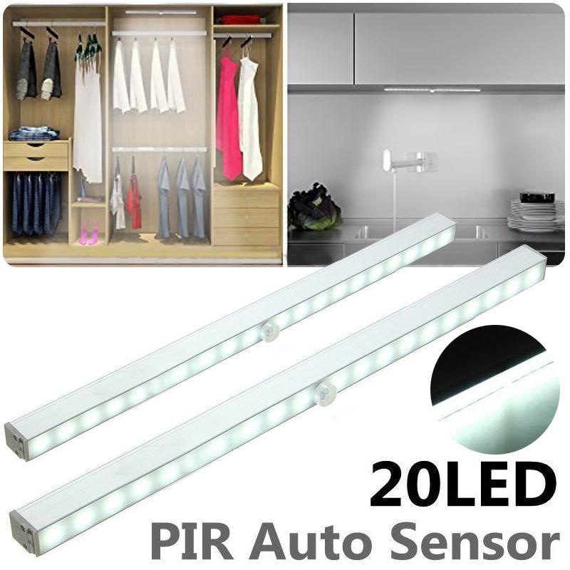Mayitr 20 LED Wireless Cabinet Night Light PIR Motion Sensor LED Night Light Closet Under Stair Aisle Porch Bedroom Walkway Lamp