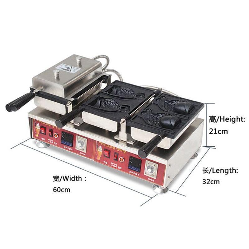 110 V 220 V Handels Nicht-stick Elektrische Taiyaki Tiefen Mund Eis Waffeleisen Maschine LCD Mit Englisch anweisung