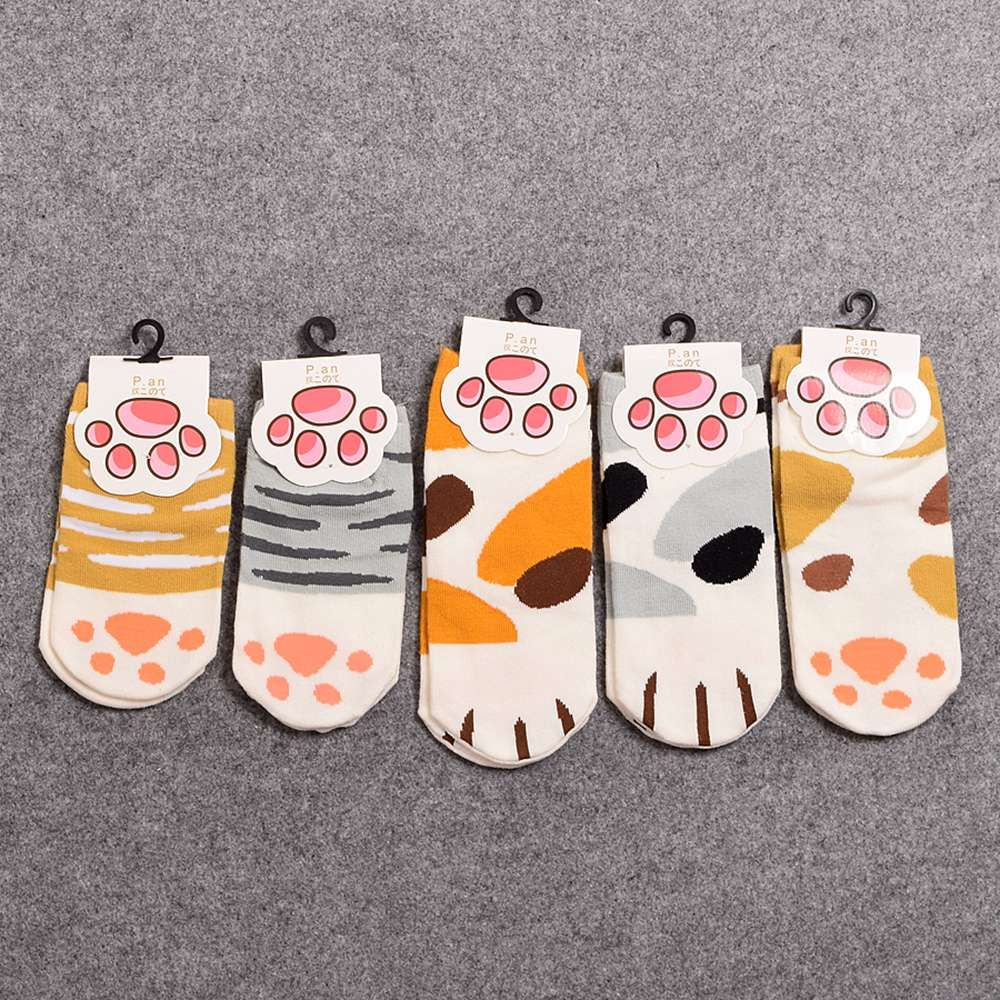 5 par/pack niñas lindo calcetines de dibujos animados encantadora cat paw print rayas calcetines cortos