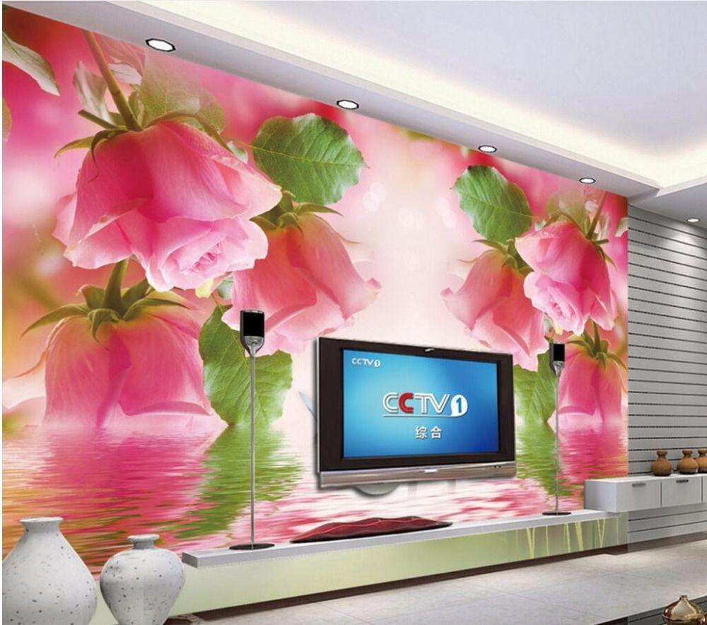 3d wallpaper custom mural photo Romantic swan pink roses painting 3d wall murals wallpaper for walls 3 d living room home decor