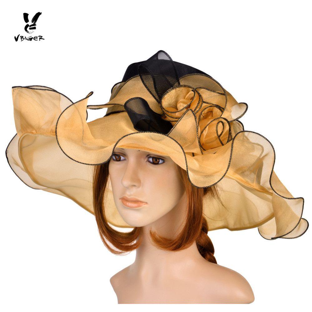 VBIGER Women Vintage Organza Sun Hat Floral Ruffles Summer Beach Hat Wide Large Brim Tea Party Wedding Sun Hat Cap Sunbonnet