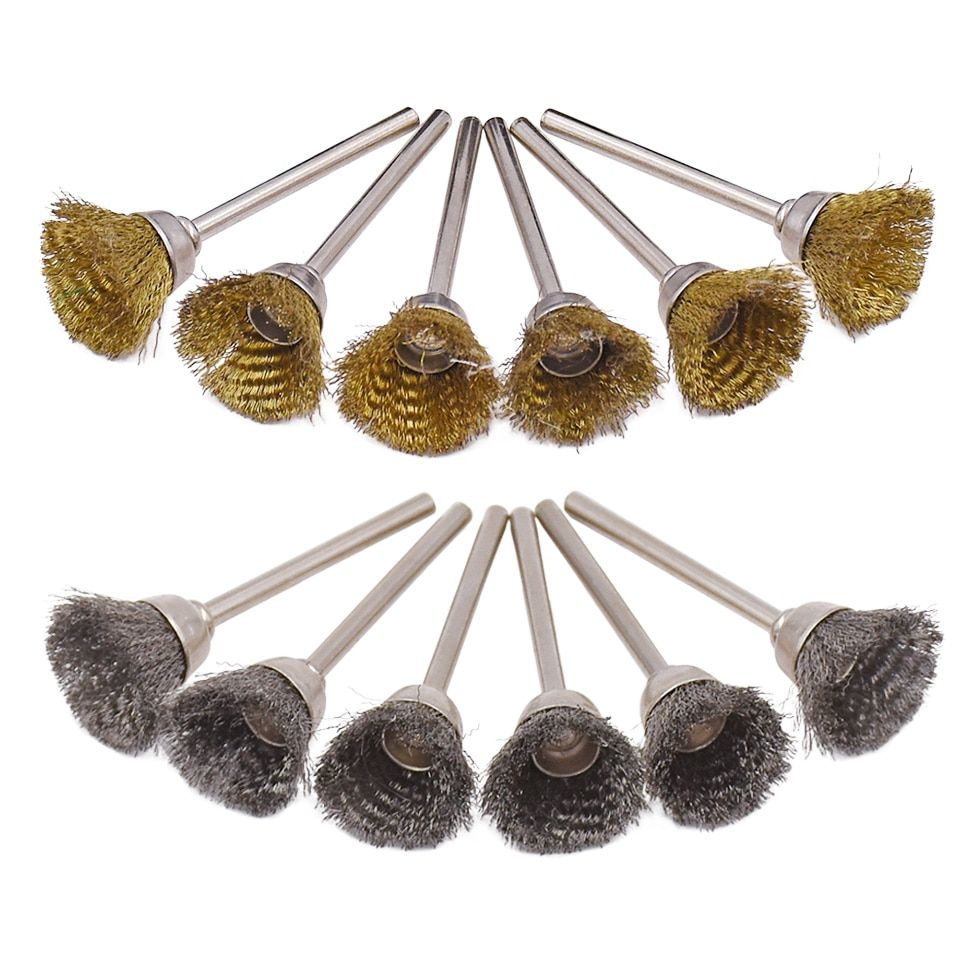 20 pièces pour Dremel accessoires abrasifs 3.0mm tige en acier fil de cuivre brosses roue pour meulage polissage outils rotatifs électriques
