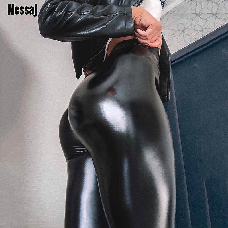 Nessaj noir été PU cuir pantalon femmes taille haute Skinny Push Up Leggings Sexy élastique pantalon Stretch grande taille jegging