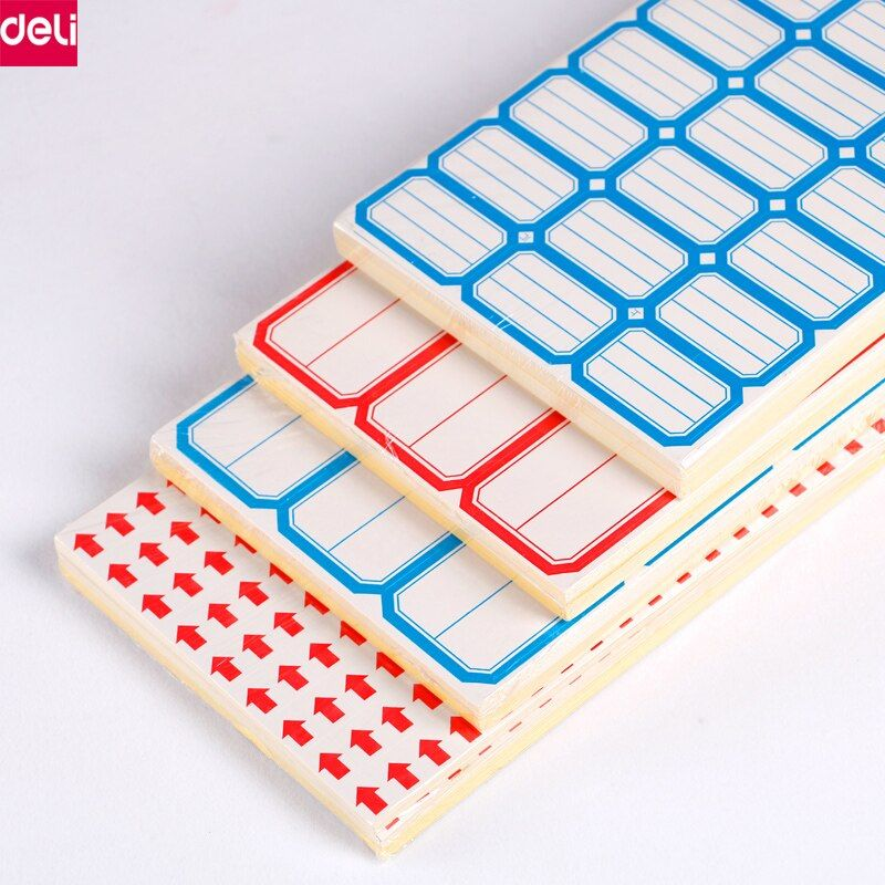 Deli Self-adhesive Label Paper Sticker Blank White Sticky Label Writable Name Stickers Notes Memo Pad Label Sticky