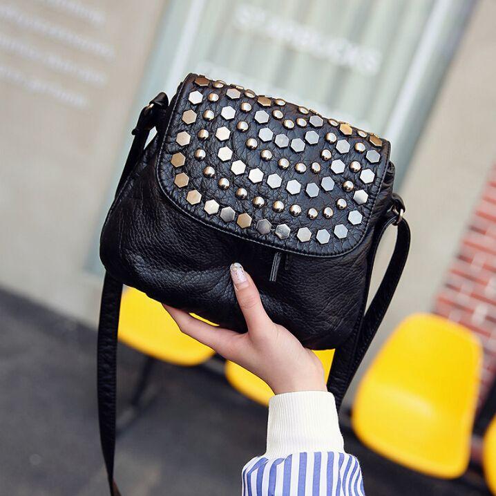 Moda pequeño bolso de cuero suave mensajero ocasional hombro pequeño bolso femenino negro xiaofhu7