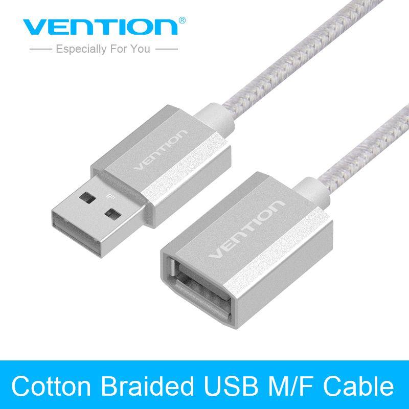 Tions USB2.0 Verlängerung Baumwolle Geflochtenen Kabel 0,5 mt 1 mt 2 mt 3 mt 5 mt Gold & Vernickelt Code Cablefor Computer Extender USB2.0 kabel