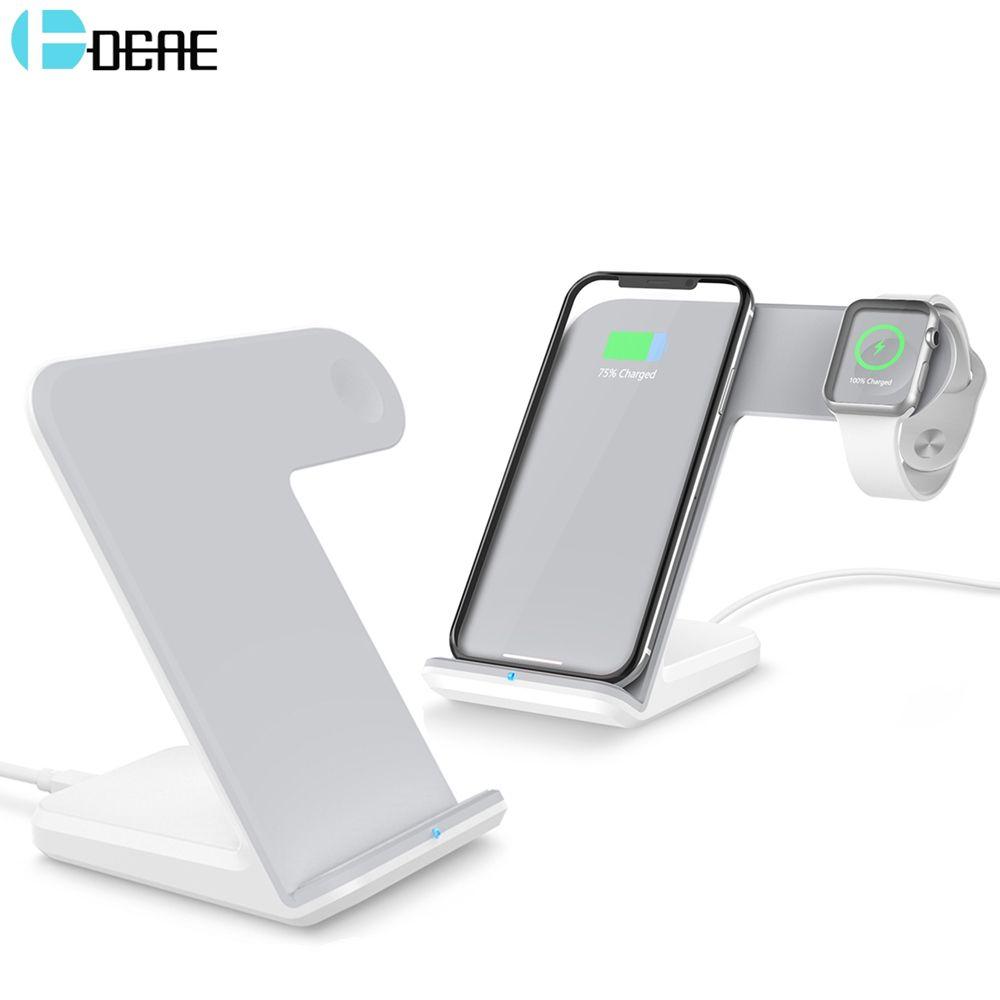 DCAE 2 en 1 Qi chargeur sans fil support pour iPhone 11 Pro XS MAX XR X 8 Plus Samsung S10 S9 S8 Note 10 9 8 10W Station de chargement rapide pour Apple Watch 2 3 4 5