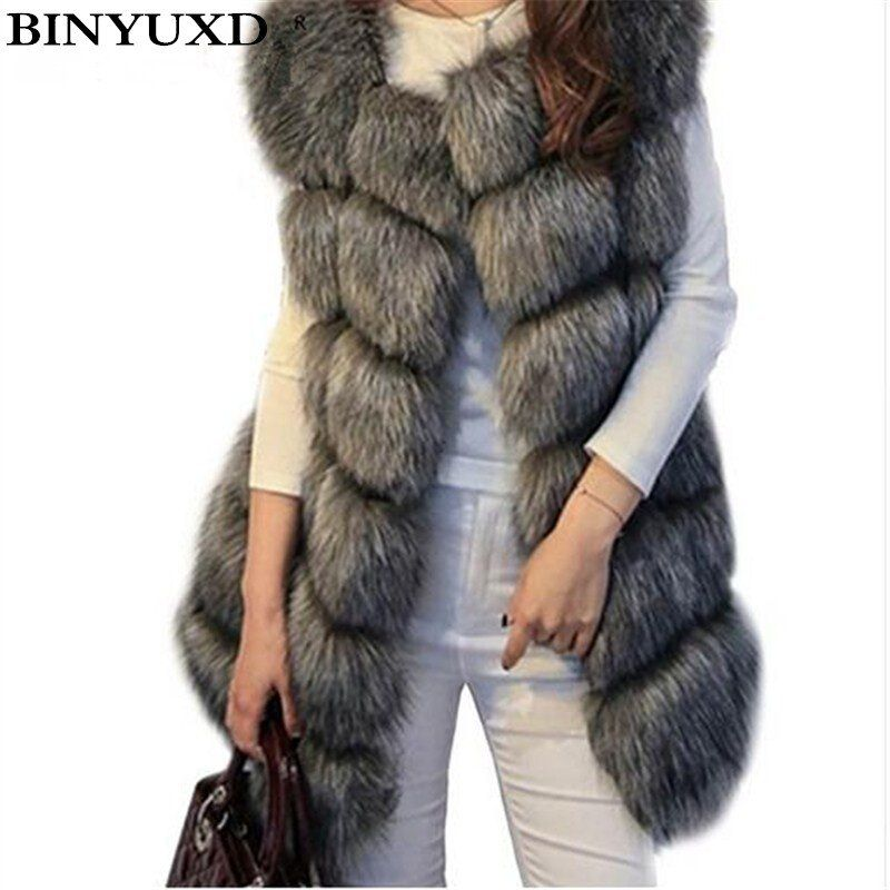 Binyuxd пальто поступление зимние теплые модные женские туфли импорт пальто Мех животных Вязаные Жилеты для женщин высокого Класс Искусственн...