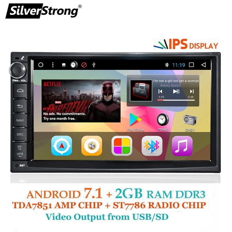 SilverStrong Android7.1 Universal 1Din 7inch GPS Car Radio Auto Stereo Car radio tape recorder with DAB+ 707T3