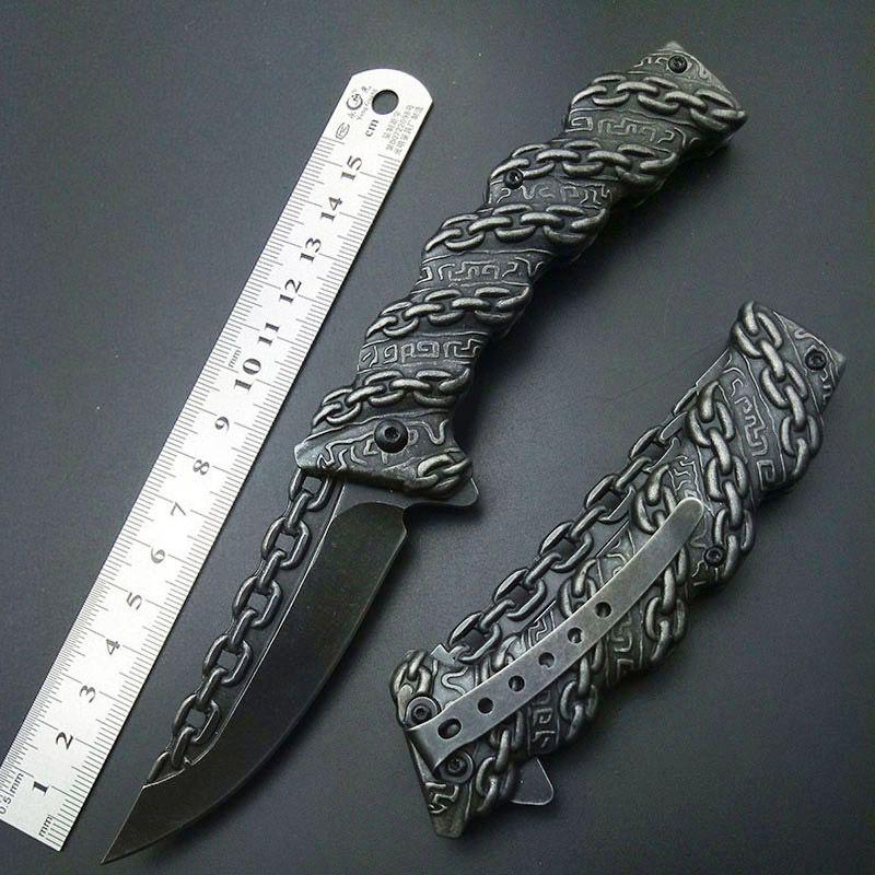 Stonewash Chaîne Couteau Pliant Tactique Couteaux à Lame Pliante En Plein Air outils Top Qualité Sculpture couteaux tous Acier Inoxydable 3D