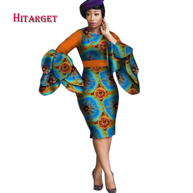 Dashiki Dress 2017 Autumn Long Sleeve Vintage Traditional African Dresses for Women Print Bodycon Sexy Dress Plus Size WY2414