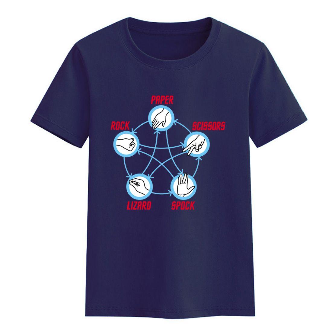 Summer 2018 Star Trek Big Bang Theory Rock Paper Scissors Lizard Spock Child T-shirts For Girls Brand Clothing T-shirt For Boy