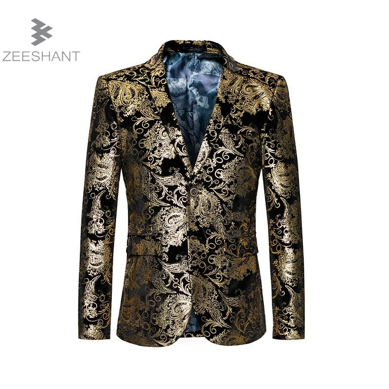 2017 New Brand Clothing Luxurious Gold Suits Mens Printing Blazer Formal Floral Jaqueta De Luxo Blazer Jackets For Men M-6XL
