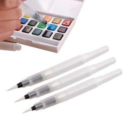3 Pièces De Différentes Taille Rechargeable Stylos Crayons De Couleur Stylo à Encre Encre Doux Aquarelle Brosse Peinture Brosse Peinture Art Fournitures